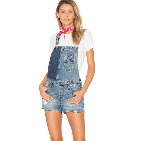 Blank NYC Denim Overall shorts in Whambulance